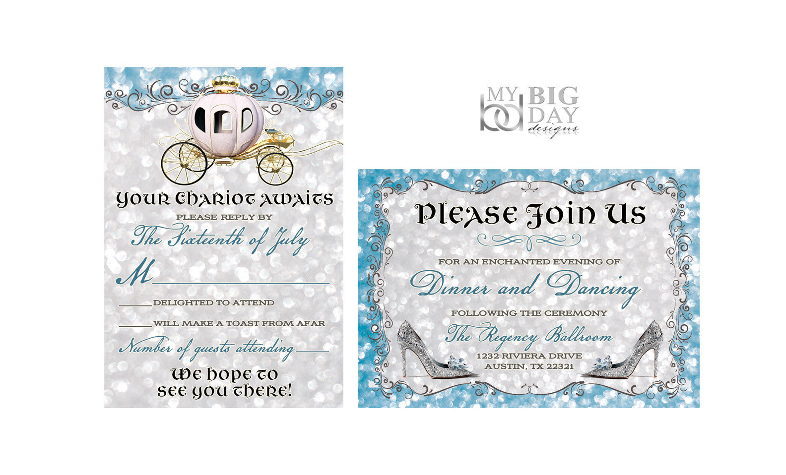 Once Apon A Time Cinderella themed Invitation Set