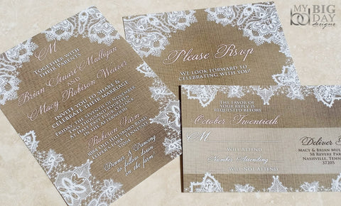 Kraft Linen and Lace Invitation Set