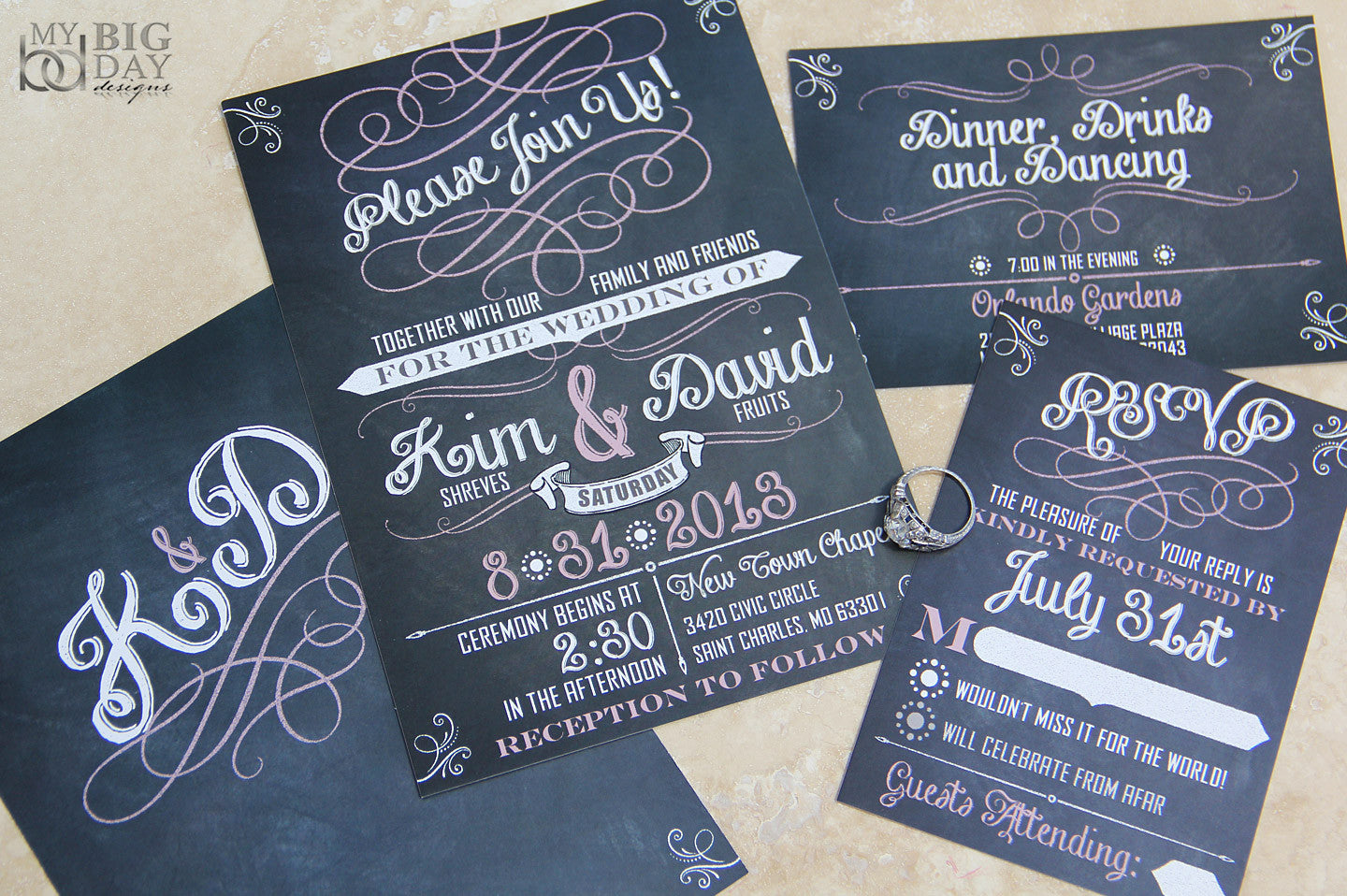 The Chalkboard Script Wedding Invitation Set