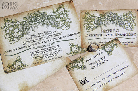 Vintage Romantic Rose Invitation Set