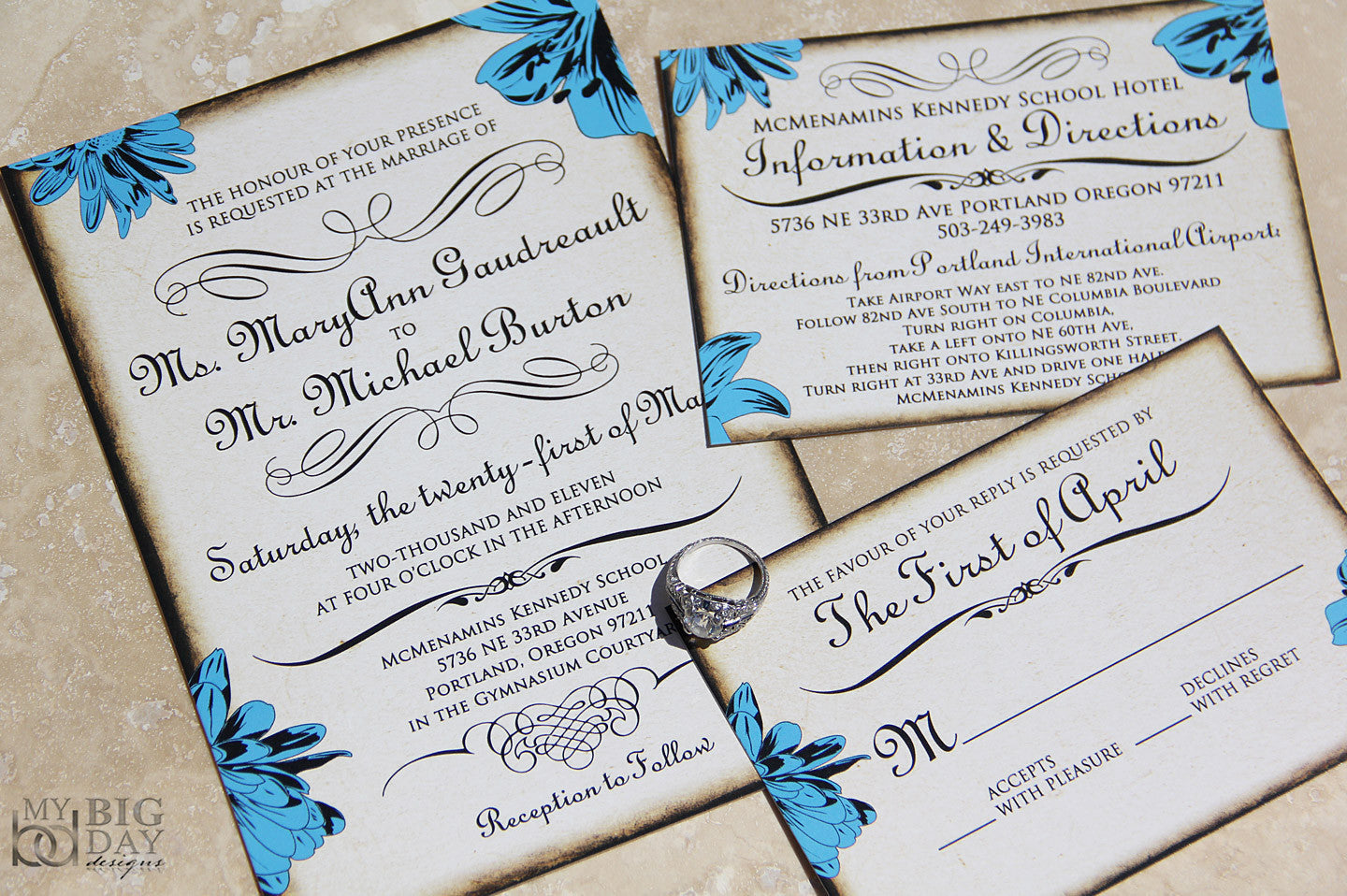 Antique Floral Invitation Set