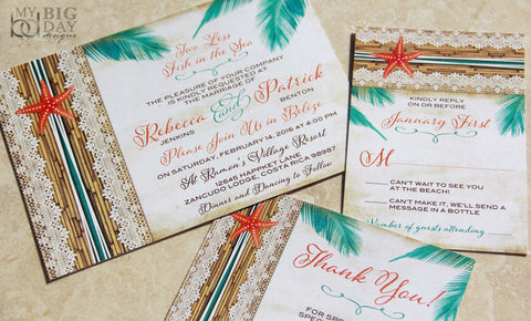 Tropical Starfish Destination Wedding Invitation Set