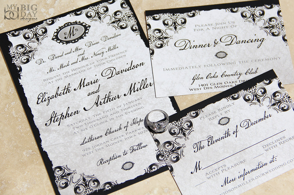 Antique Damask Invitation Set