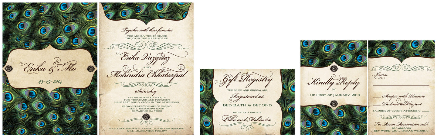 Vintage Peacock Feathers Wedding Invitation Set My Big Day Designscom