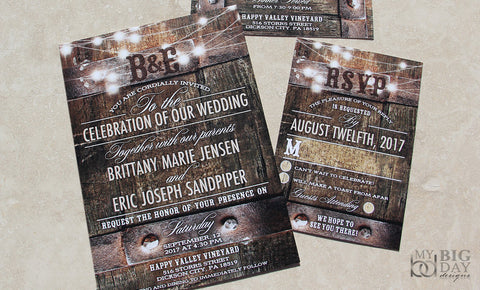 Rustic Wine Barrel Vinyard Wedding Invitation Set