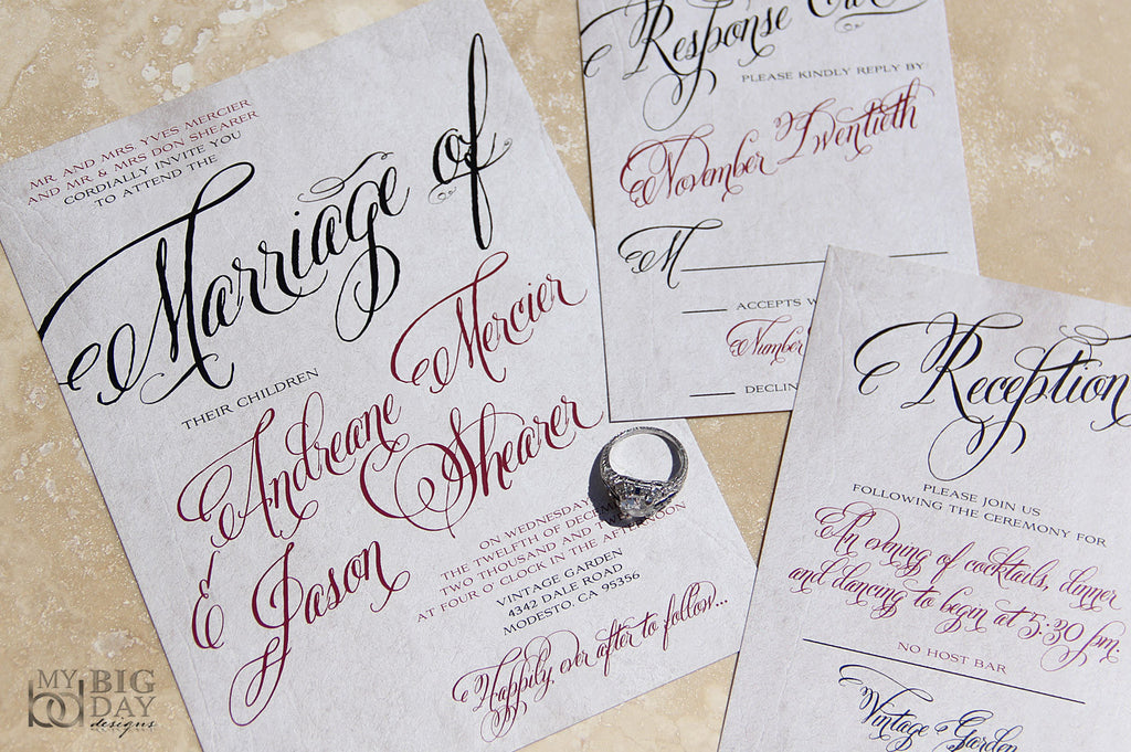 Flourishing Script Invitation Set