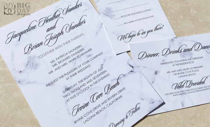 Romantic Marble Wedding Invitation Set
