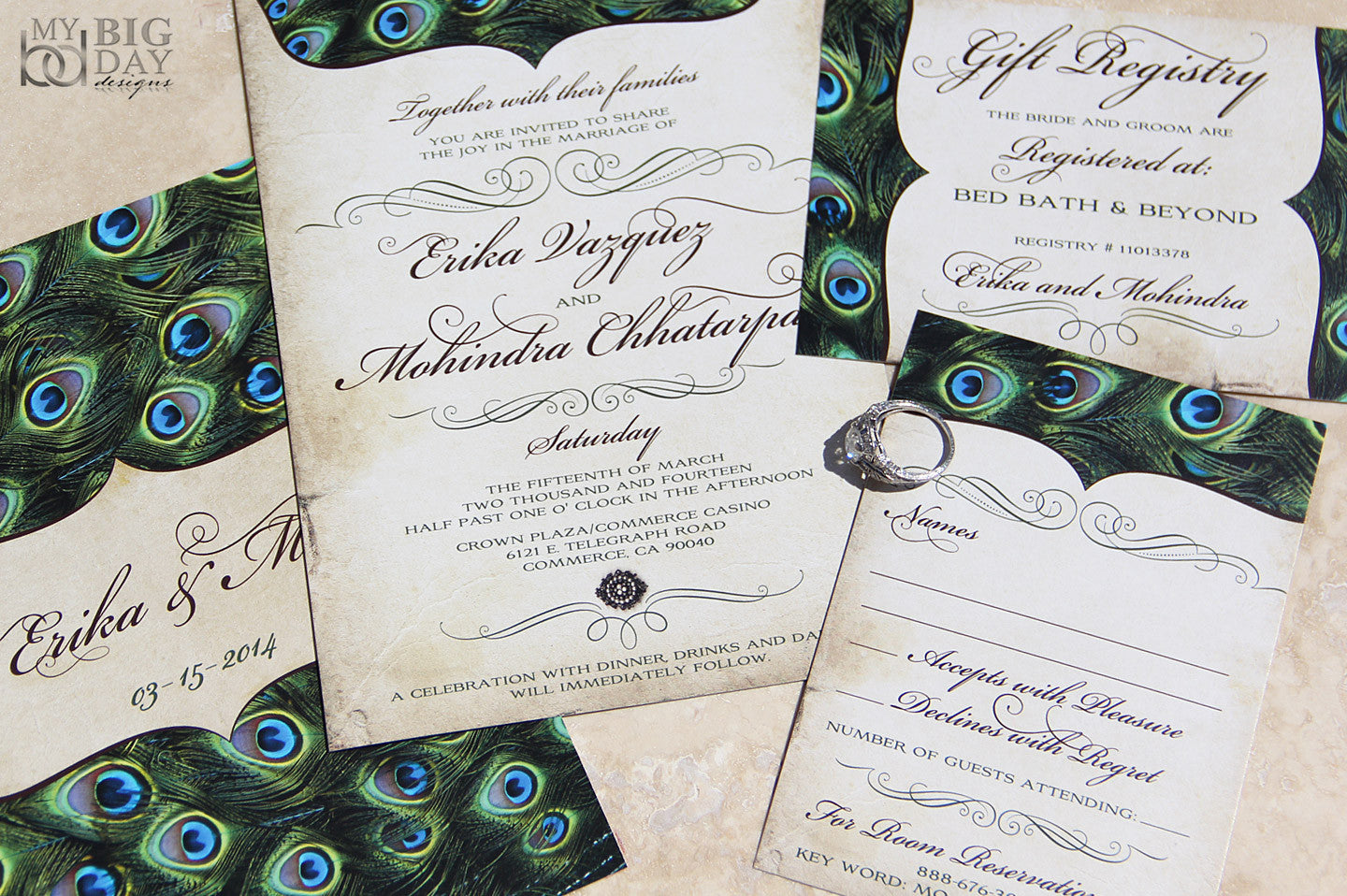 Vintage Peacock Feathers Wedding Invitation Set