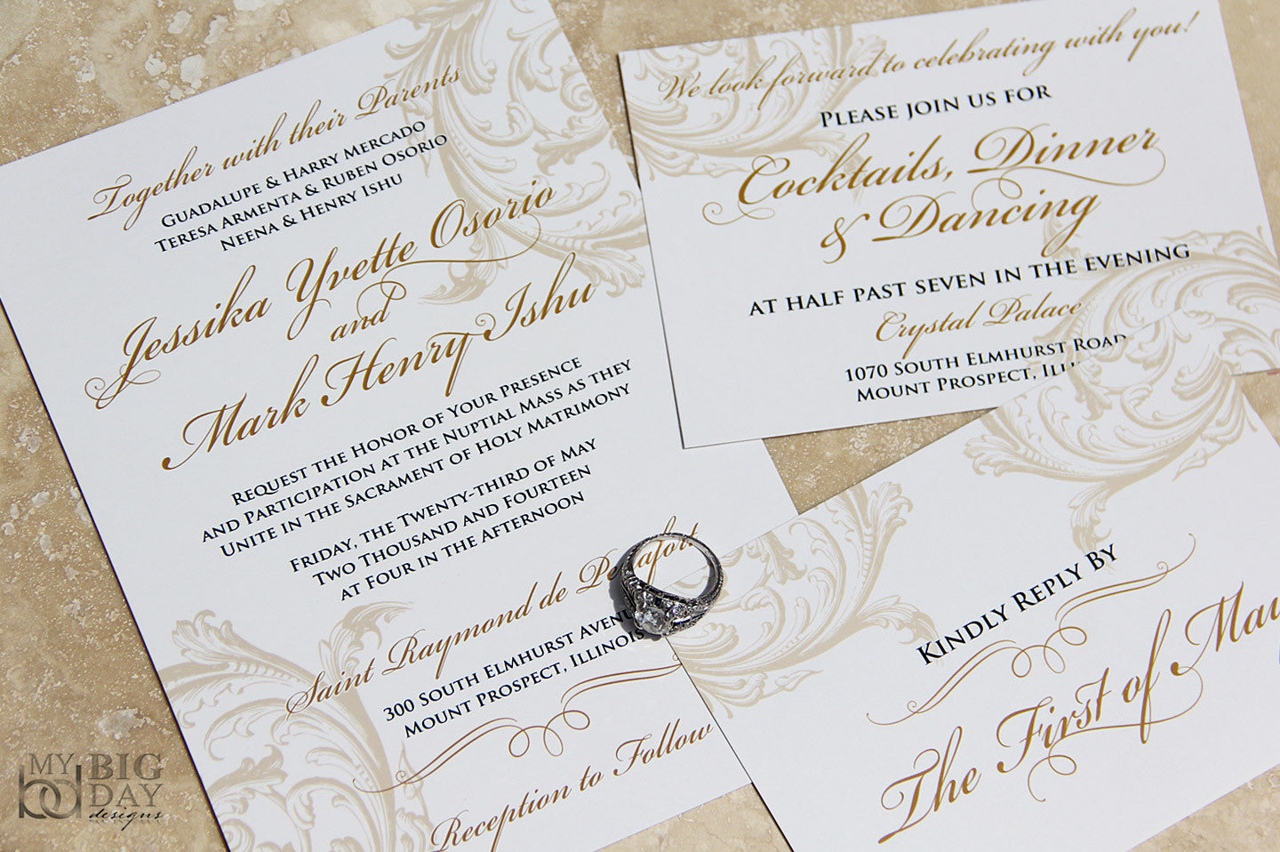 The Victorian Swash Wedding Invitation Set