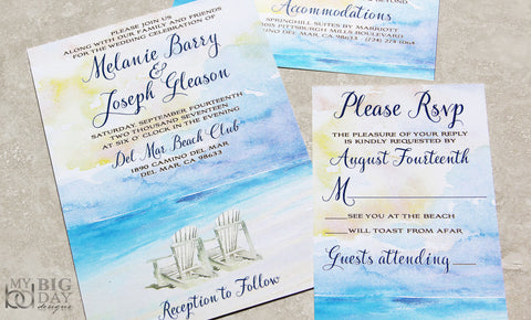 The Watercolored Waves Invitation Set