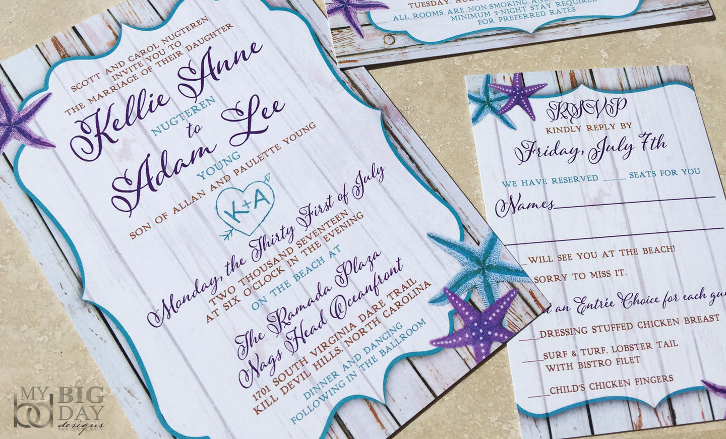 Boardwalk Starfish Wedding Invitation Set My Big Day Designscom