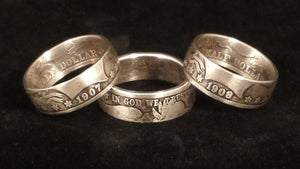 Barber Silver Half Dollar Coin Rings