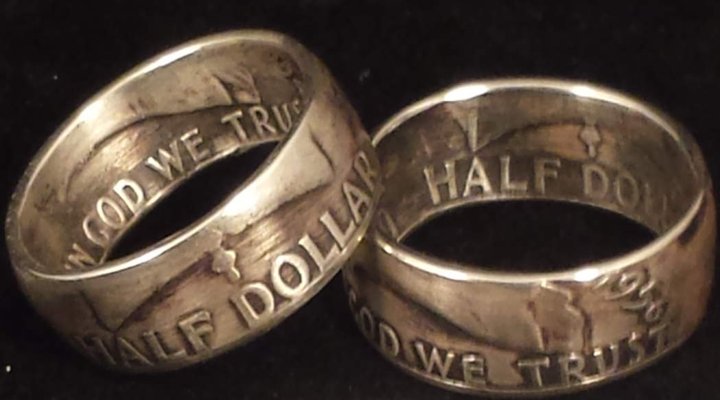 Franklin Silver Half Dollar Coin Rings