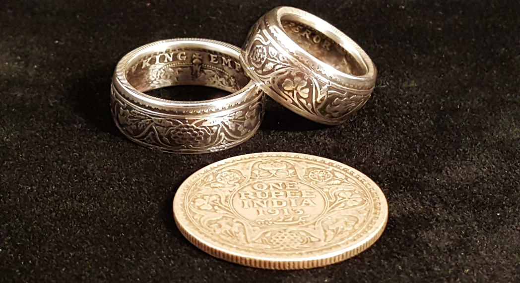 "British India ""King George V Emperor"" Silver One Rupee Coin Rings"