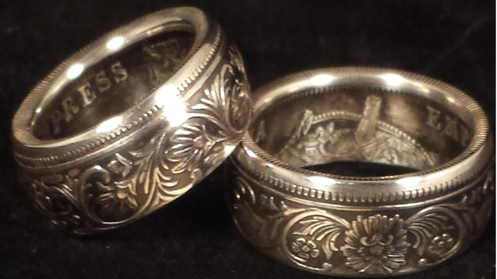 "British India ""Victoria Empress"" Silver One Rupee Coin Rings"