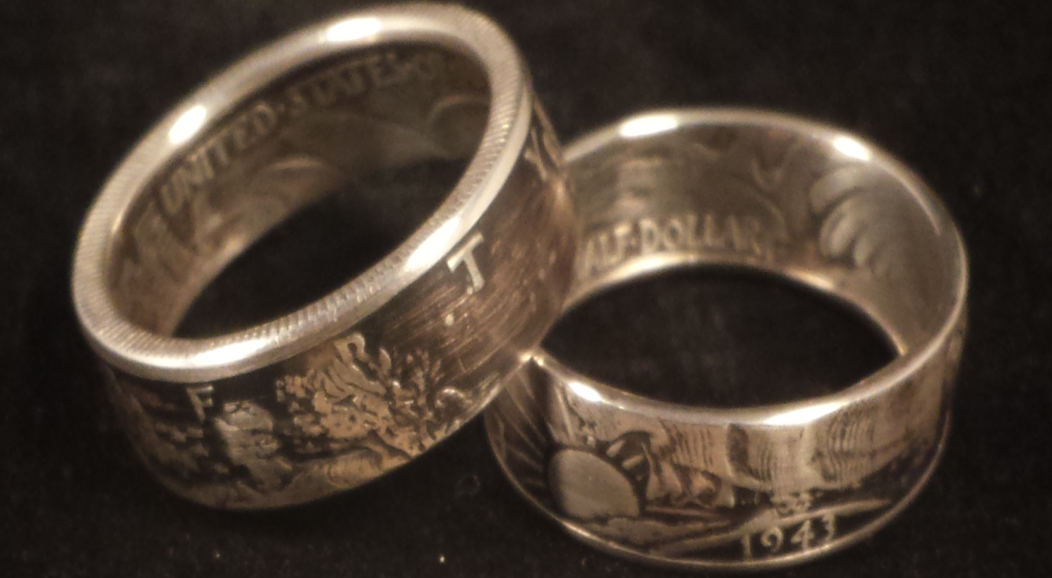 Walking Liberty Silver Half Dollar Coin Rings