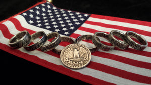 Washington Silver Quarter Coin Rings