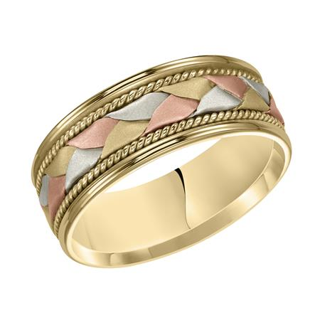 White Rose And Yellow Gold Woven Wedding Band