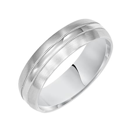 Satin Finish Wedding Band With High Polish And Milgrain Center