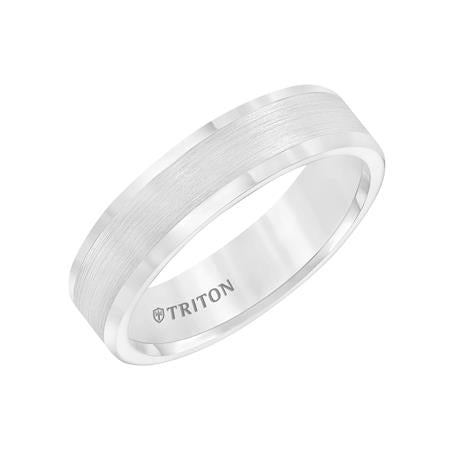 Satin Finish Flat Center With Bright Polish Round Edge Wedding Band