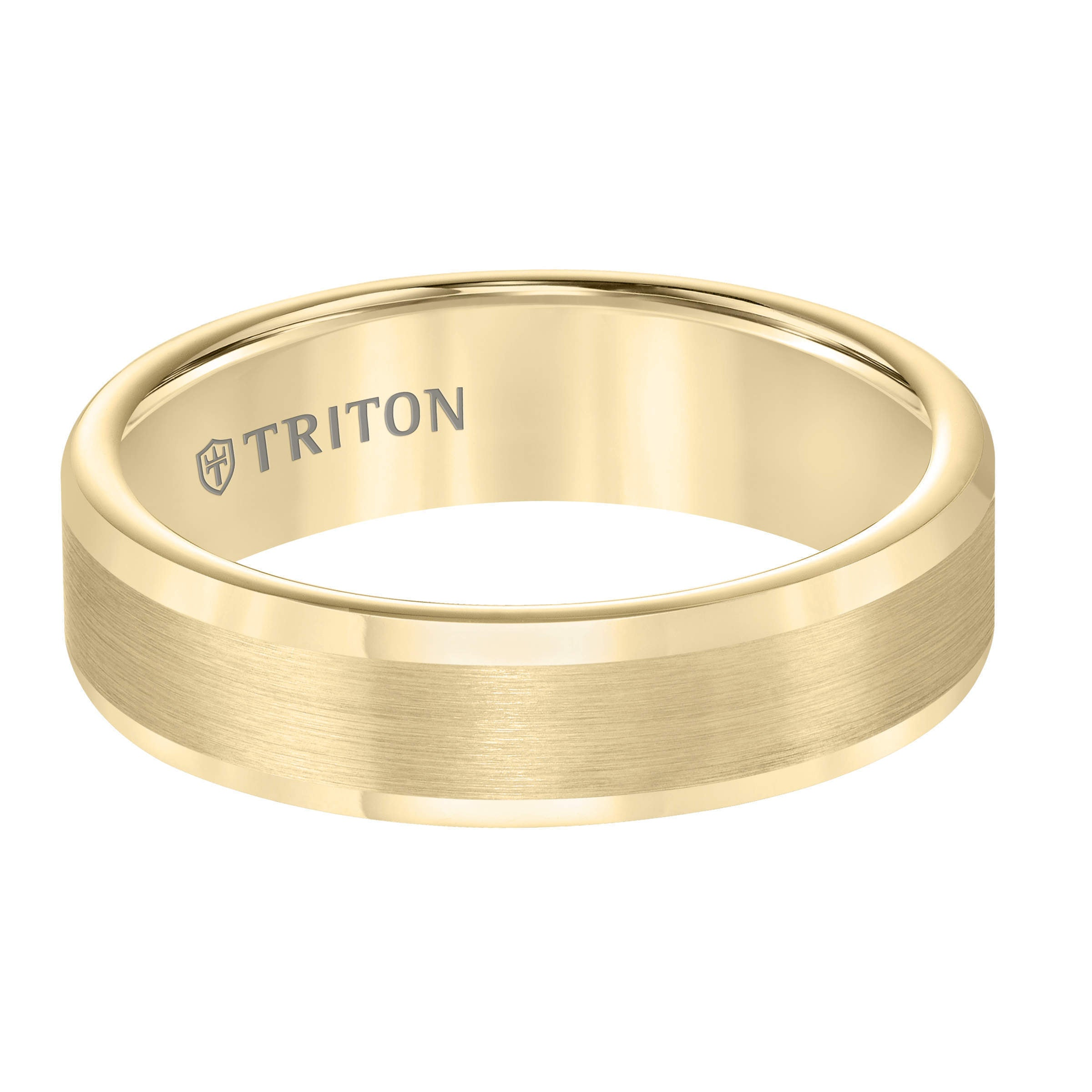Yellow Gold Round Edge Comfort Fit Band With Satin Center