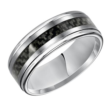 Step Edge Wedding Band With Basket Weave Inlay Pattern