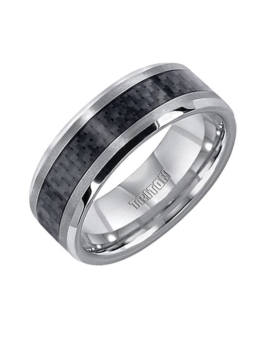 Bevel Edge Band With Black Carbon Fiber Ring