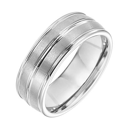 Brush Finish And High Polish Center Groove And Edge Wedding Band