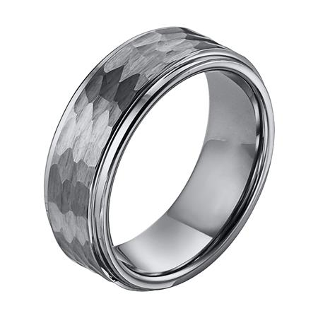 Beveled Edge Wedding Band With Hammered Center