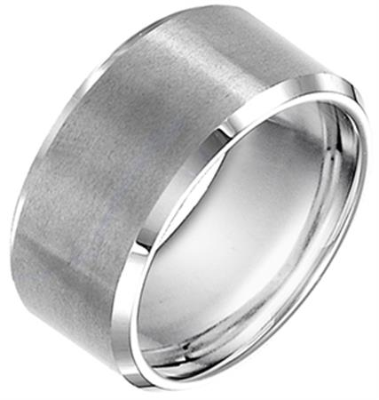Satin Finish Wedding Band With Bevel Edge