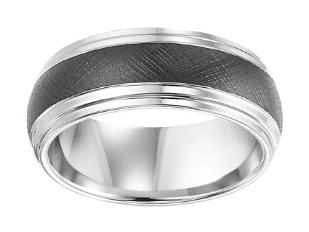 Black And White Domed Double Step Edge Band With Florentine Finish