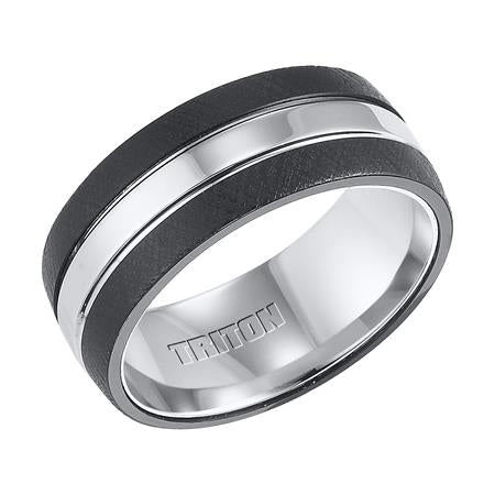 Black And White Tungsten Carbide Comfort Fit Band With Florentine Fini