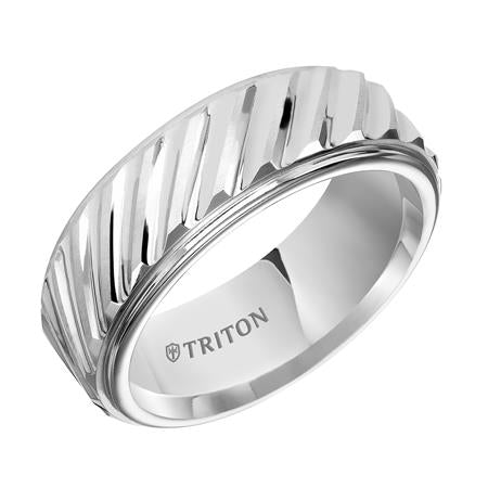 Step Edge Wedding Band With Diagonal Center Cuts