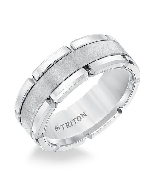 Linked Brushed Tungsten Band With Satin Center