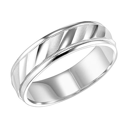Bright And Satin Finish Wedding Band With Milgrain Accent