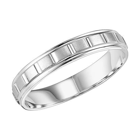 Vertical Cut And Brushed Finish Wedding Band With Round Edges