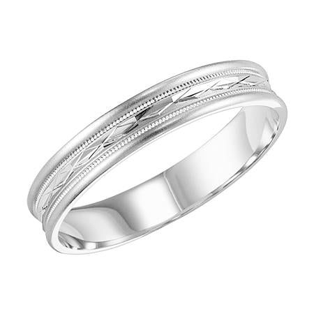 4mm Wide Wedding Band With Diamond Cut Center