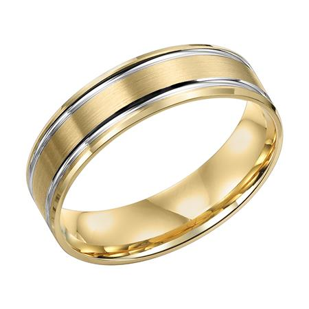 Brushed Finish With Two Tone Channels And Step Edge Wedding Band