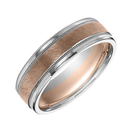 Two Tone Diagonal Finish And Milgrain Wedding Band