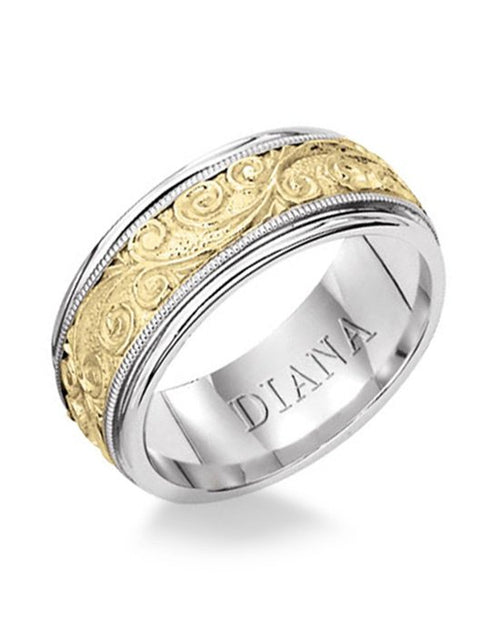 Two Toned Wedding Band With Detailed Engraving