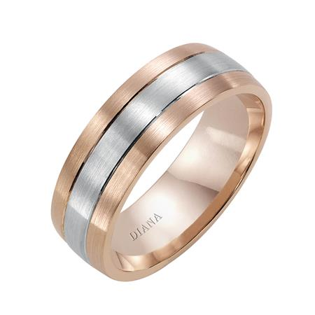 Two Tone Engraved Wedding Band With Brush Finish