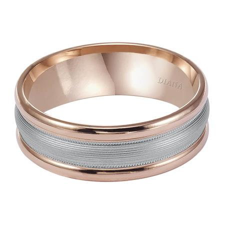 Two Tone Engraved Wedding Band With Brush Finish And Rolled Edges