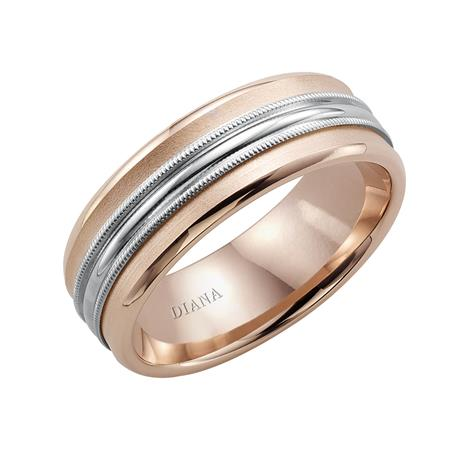 Two Tone Engraved Wedding Band With Milgrain Detail