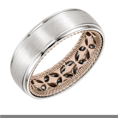 Wedding Band With Diamond Pattern And Rope Edge Inside