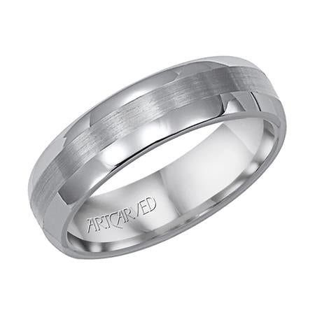 Aurora Polished Edge Wedding Band With Satin Center Strip