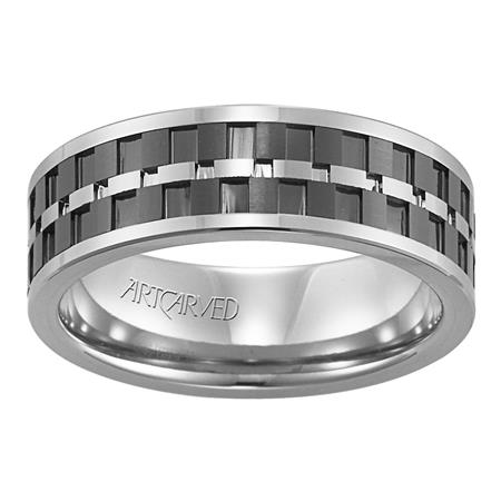 White And Black Matrix Design Wedding Band