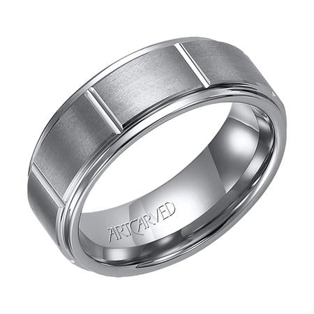 Satin Finish Wedding Band With Vertical Groove Pattern And Rolled Edge