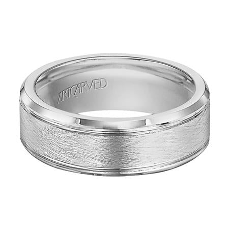 Brush Finish Wedding Band With Horizontal Grooves