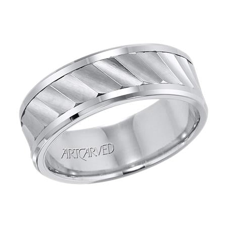 Wedding Band With Diagonal Cut Center
