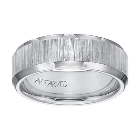 Wedding Band With Vertical Satin Finish And Beveled Edge